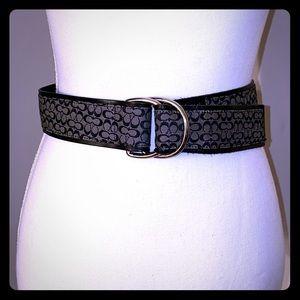 Leather black Coach logo belt adjustable
